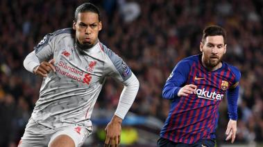 Virgil van Dijk of Liverpool battles with Lionel Messi of Barcelona during the UEFA Champions League Semi Final first leg match between Barcelona and Liverpool at the Nou Camp on May 01, 2019 in Barcelona, Spain. (Getty Images)