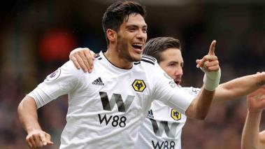 Raul Jimenez of Wolverhampton Wanderers celebrates after scoring his team's first goal during the Premier League match between Watford FC and Wolverhampton Wanderers at Vicarage Road on April 27, 2019 in Watford, United Kingdom. (Getty Images)