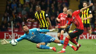 Ben Foster of Watford saves from Nathan Redmond of Southampton during the Premier League match between Watford FC and Southampton FC at Vicarage Road on April 23, 2019 in Watford, United Kingdom. Getty Images