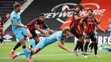 Tottenham Hotspur's Harry Kane from a collision with Bournemouth's Joshua King during the English Premier League football match between Bournemouth and Tottenham Hotspur at the Vitality Stadium in Bournemouth, England, on July 9, 2020. Getty Images