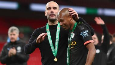 Fernandinho and Josep Guardiola, Manager of Manchester City during the Premier League match against Huddersfield Town at Etihad Stadium on May 6, 2018 in Manchester, England. (Getty Images)