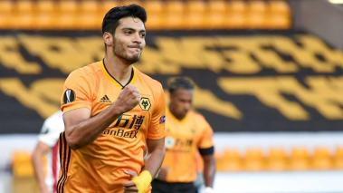 Raul Jimenez of Wolverhampton during the UEFA Europa League between Wolverhampton Wanderers and Olympiacos in Wolverhampton, Britain, 06 August 2020. EFE