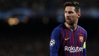 Barcelona's Argentinian forward Lionel Messi looks on during the UEFA Champions League round of 16, second leg football match againts Olympique Lyonnais at the Camp Nou stadium in Barcelona on March 13, 2019. (Getty Images)