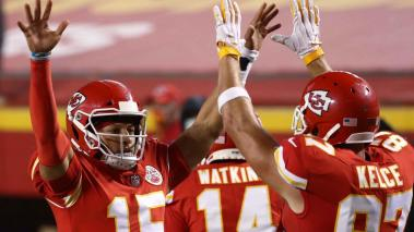 Patrick Mahomes #15 celebrates a touchdown with teammate Travis Kelce #87 of the Kansas City Chiefs during the second quarter against the Houston Texans at Arrowhead Stadium on September 10, 2020 in Kansas City, Missouri. (Getty Images)