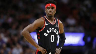 Terence Davis #0 of the Toronto Raptors looks on against the Miami Heat during the second half at American Airlines Arena on January 02, 2020 in Miami, Florida. Getty Images
