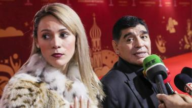 Argentinian retired striker Diego Maradona (R) with daughter Dalma interviewed ahead of the 2018 FIFA World Cup final draw at the State Kremlin Palace. (Getty Images)