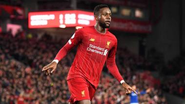 Divock Origi of Liverpool celebrates after scoring his team's third goal during the Premier League match between Liverpool FC and Everton FC at Anfield on December 04, 2019 in Liverpool, United Kingdom. (Getty Images)