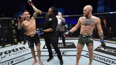Dustin Poirier reacts after his knockout victory over Conor McGregor of Ireland in a lightweight fight during the UFC 257 event inside Etihad Arena on UFC Fight Island on January 23, 2021 in Abu Dhabi, United Arab Emirates. Getty Images)