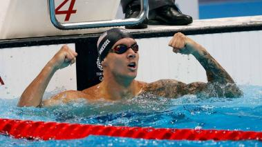 Caeleb Dressel of the US reacts after winning the gold medal in the Men's 50m Freestyle Final during the Swimming events of the Tokyo 2020 Olympic Games at the Tokyo Aquatics Centre in Tokyo, Japan, 01 August 2021. (Japón, Tokio) EFE