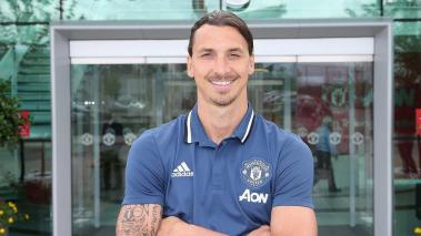 MANCHESTER, ENGLAND -Zlatan Ibrahimovic of Manchester United poses after signing for the club at Aon Training Complex on July 1, 2016 in Manchester, England. (Photo by John Peters/Man Utd via Getty Images)