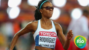 Deborah Rodriguez of Uruguay competes in the Women's 400 metres hurdles semi-final during day three of the 15th IAAF World Athletics Championships Beijing 2015 at Beijing National Stadium on August 24, 2015 in Beijing, China. (Getty Images for IAAF)
