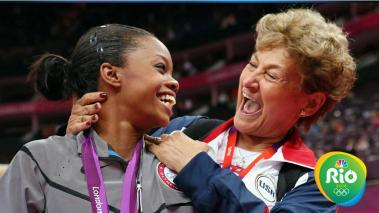 LONDON, ENGLAND - AUGUST 02: Gabrielle Douglas of the United States celebrates winning the gold medal with team coordinator Martha Karolyi after the Artistic Gymnastics Women's Individual All-Around final on Day 6 of the London 2012 Olympic Games at North