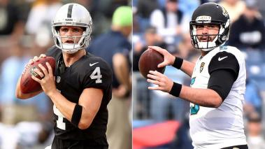 Derek Carr, de Raiders y Blake Bortles, de Jaguars. Foto: Getty Images