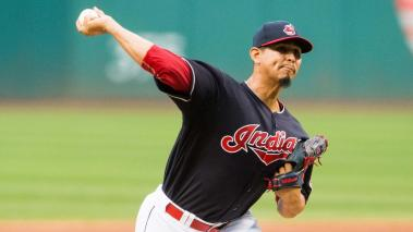 Starting pitcher Carlos Carrasco #59 of the Cleveland Indians pitches during the first inning against the Houston Astros at Progressive Field on September 7, 2016 in Cleveland, Ohio. (Photo by Jason Miller/Getty Images)