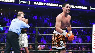 Danny Garcia runs to his corner after a TKO against Samuel Vargas at Liacouras Center on November 12, 2016 in Philadelphia, Pennsylvania. (Photo by Drew Hallowell/Getty Images)