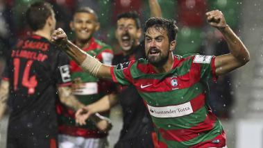 Maritimo's Maurício celebrates after scoring a goal against Benfica during Portuguese First League Soccer match held at Barreiros Stadium, Funchal, Portugal, 02 December 2016. EFE