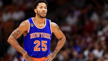 Derrick Rose #25 of the New York Knicks looks on during a game against the Miami Heat at American Airlines Arena on December 6, 2016 in Miami, Florida. Getty Images