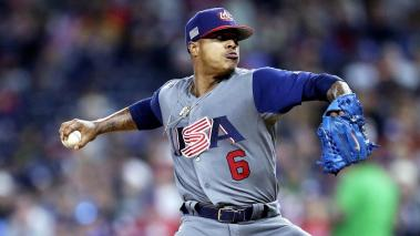 United States' pitcher Marcus Stroman delivers against Puerto Rico in the second round of the World Baseball Classic in San Diego, California, USA, 17 March 2017. (Estados Unidos) EFE