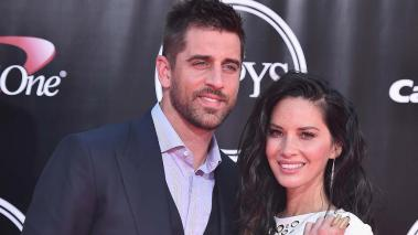 Football player Aaron Rodgers and actress Olivia Munn at Microsoft Theater on July 13, 2016 in Los Angeles, California. (Photo by Alberto E. Rodriguez/Getty Images)