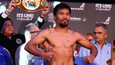 Manny Pacquiao during the weigh in ahead of the title fight between Jeff Horn and Manny Pacquiao at Suncorp Stadium on July 1, 2017 in Brisbane, Australia. (Photo by Chris Hyde/Getty Images)