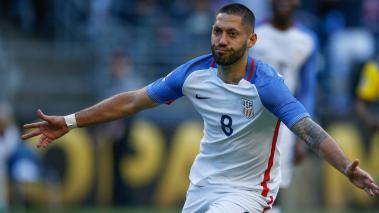 Clint Dempsey #8 of the United States reacts after scoring a goal. (Photo by Otto Greule Jr/Getty Images)