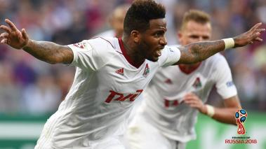 Jefferson Farfan of FC Lokomotiv Moscow celebrates after scoring a goal during the Russian Premier League match between PFC CSKA Moscow and FC Lokomotiv Moscow at the VEB Arena Stadium on July 21, 2017 in Moscow, Russia. (Photo by Epsilon/Getty Images)