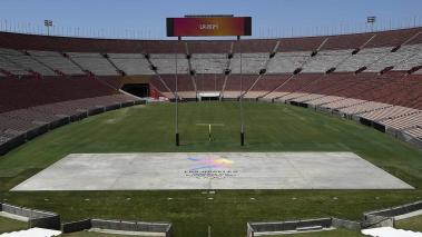 The Los Angeles Memorial Coliseum is shown by the LA2024 bidding committee to IOC Evaluation Commission and the media as part of their bid for the Los Angeles 2024 Summer Olympic Games May 11, 2017, in Los Angeles, California. (Getty Images)
