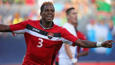 Joevin Jones #3 of Trinidad & Tobago celebrates a first half goal against Guatemala during a match in the 2015 CONCACAF Gold Cup at Soldier Field on July 9, 2015 in Chicago, Illinois. (Getty Images)