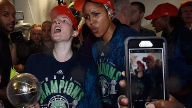 Lindsay Whalen #13 and Maya Moore #23 of the Minnesota Lynx celebrate winning against the Los Angeles Sparks in Game Five of the WNBA Finals on October 4, 2017 at Williams in Minneapolis, Minnesota. (Getty Images)