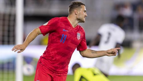 Jordan Morris #11 of the United States celebrates during a game between Cuba and USMNT at Audi Field on October 11, 2019 in Washington, DC. (Photo by Brad Smith/ISI Photos/Getty Images).
