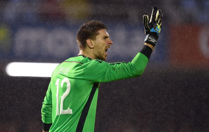 Ron-Robert Zieler of Germany shouts during the International Friendly match between Spain and Germany at Estadio Balaidos on November 18, 2014 in Vigo, Spain. (Photo by Matthias Hangst/Bongarts/Getty Images)