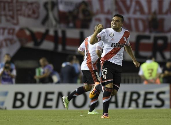 River Plate defender Gabriel Mercado celebrates after scoring against Colombia's Atletico Nacional during their Copa Sudamericana 2014 second leg final football match at the Monumental stadium in Buenos Aires, Argentina, on December 10, 2014. Getty Images