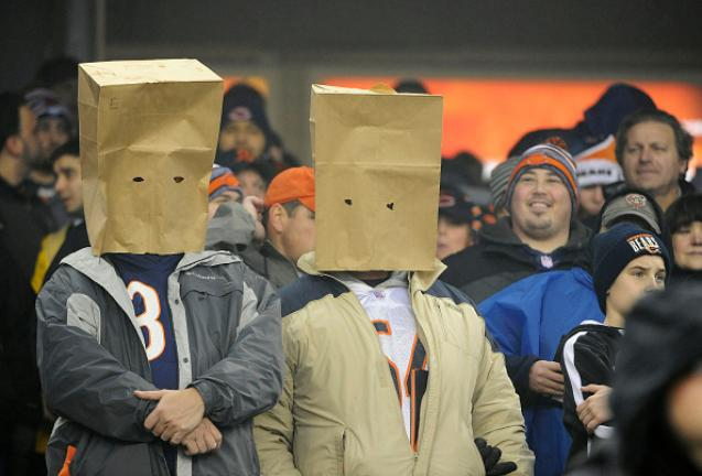 Chicago Bears fans bring out the bags early the first quarter of their game against the New Orleans Saints at Soldier Field on December 15, 2014 in Chicago, Illinois. (Getty Images)