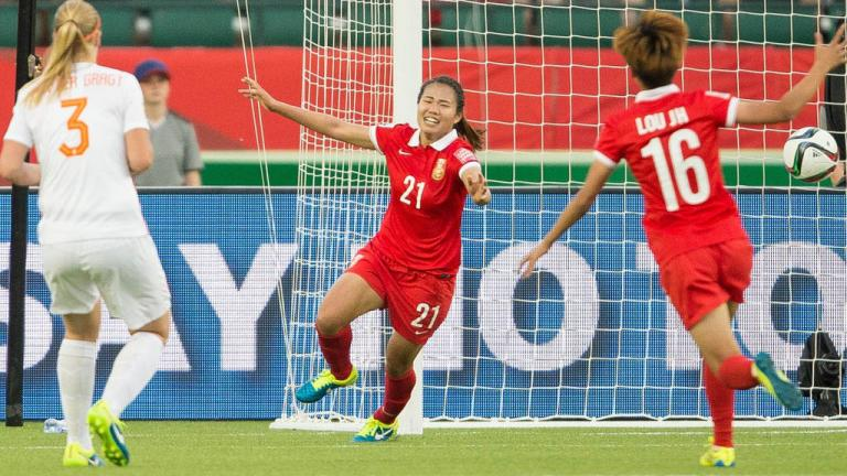 Wang Lisi de China celebra su anotación contra Holanda. Foto: Getty Images