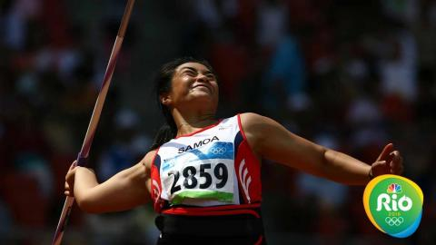 Selafina Akeli of Samoa competes in the Women's Javelin Qualifying Round held at the National Stadium on Day 11 of the Beijing 2008 Olympic Games on August 19, 2008 in Beijing, China. (Photo by Clive Brunskill/Getty Images)