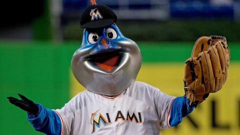 Miami Marlins mascot Billy the Marlin before the game against the Philadelphia Phillies at Marlins Park on September 24, 2014 in Miami, Florida. (Photo by Rob Foldy/Getty Images)