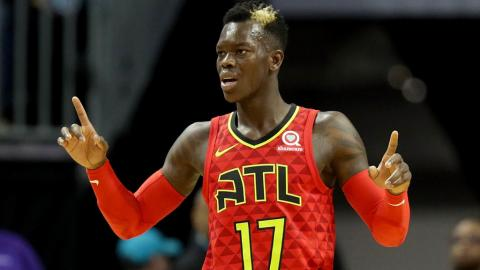 Dennis Schroder #17 of the Atlanta Hawks reacts against the Charlotte Hornets during their game at Spectrum Center on January 26, 2018 in Charlotte, North Carolina. (Getty Images)