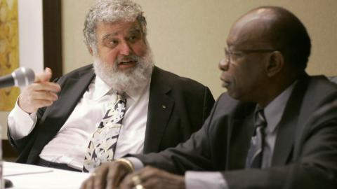 In this Jan. 28, 2008, photo, CONCACAF General Secretary Chuck Blazer (left) and President Jack Warner chat during a news conference in Miami. (AP Photo)