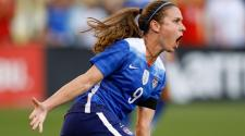 Midfielder Heather O'Reilly #9 of the United States celebrates after scoring in the first half during the friendly match against Costa Rica at Finley Stadium on August 19, 2015 in Chattanooga, Tennessee. (Getty Images)