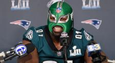 Fletcher Cox #91 of the Philadelphia Eagles wears a mask as he speaks to the media during Super Bowl LII media availability on January 31, 2018 at Mall of America in Bloomington, Minnesota. (Getty Images)