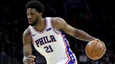 Joel Embiid #21 of the Philadelphia 76ers dribbles the ball against the Milwaukee Bucks in the first half at Wells Fargo Center on January 20, 2018 in Philadelphia, Pennsylvania. (Getty Images)
