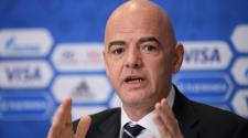 President Gianni Infantino speaks to the media during the Closing Press Conference of the FIFA Confederations Cup Russia 2017 on July 1, 2017 in Saint Petersburg, Russia. (Getty Images)