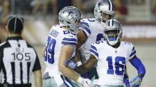 Uzoma Nwachukwu #16 of the Dallas Cowboys celebrates in the third quarter of the NFL Hall of Fame preseason game at Tom Benson Hall of Fame Stadium on August 3, 2017 in Canton, Ohio. (Getty Images)